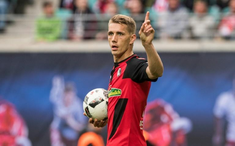 Freiburg's forward Nils Petersen, pictured on April 15, 2017, scored against Bayer Leverkusen