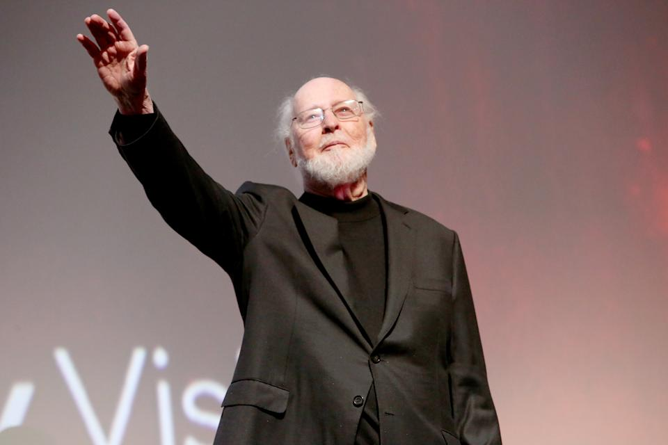 """John Williams speaks onstage during the world premiere of """"Star Wars: The Rise of Skywalker"""" on December 16, 2019. (Photo by Jesse Grant/Getty Images for Disney)"""