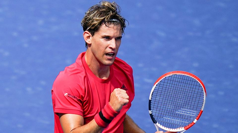 Pictured here, Dominic Thiem celebrates during his first round win at the 2020 US Open.