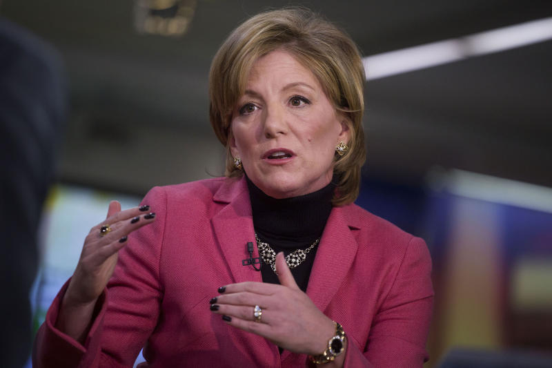 Sherilyn McCoy, chief executive officer of Avon Products, speaks during a Bloomberg Television interview in 2015.