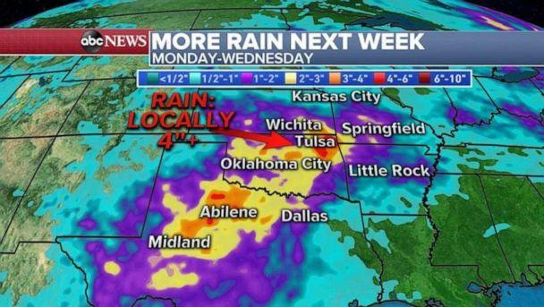 PHOTO: After a quiet weekend, there will be more rain for the Southern Plains at the start of next week. (ABC News)
