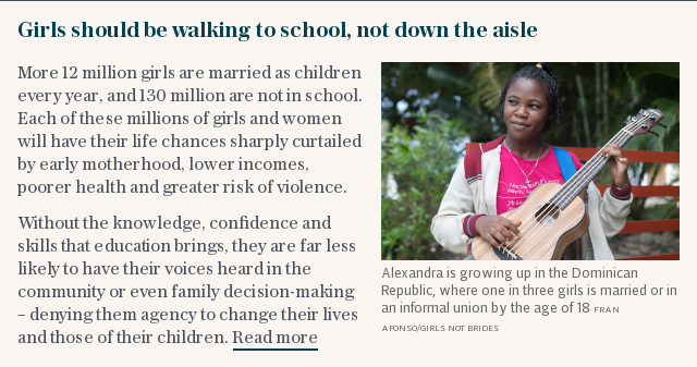 Girls should be walking to school, not down the aisle
