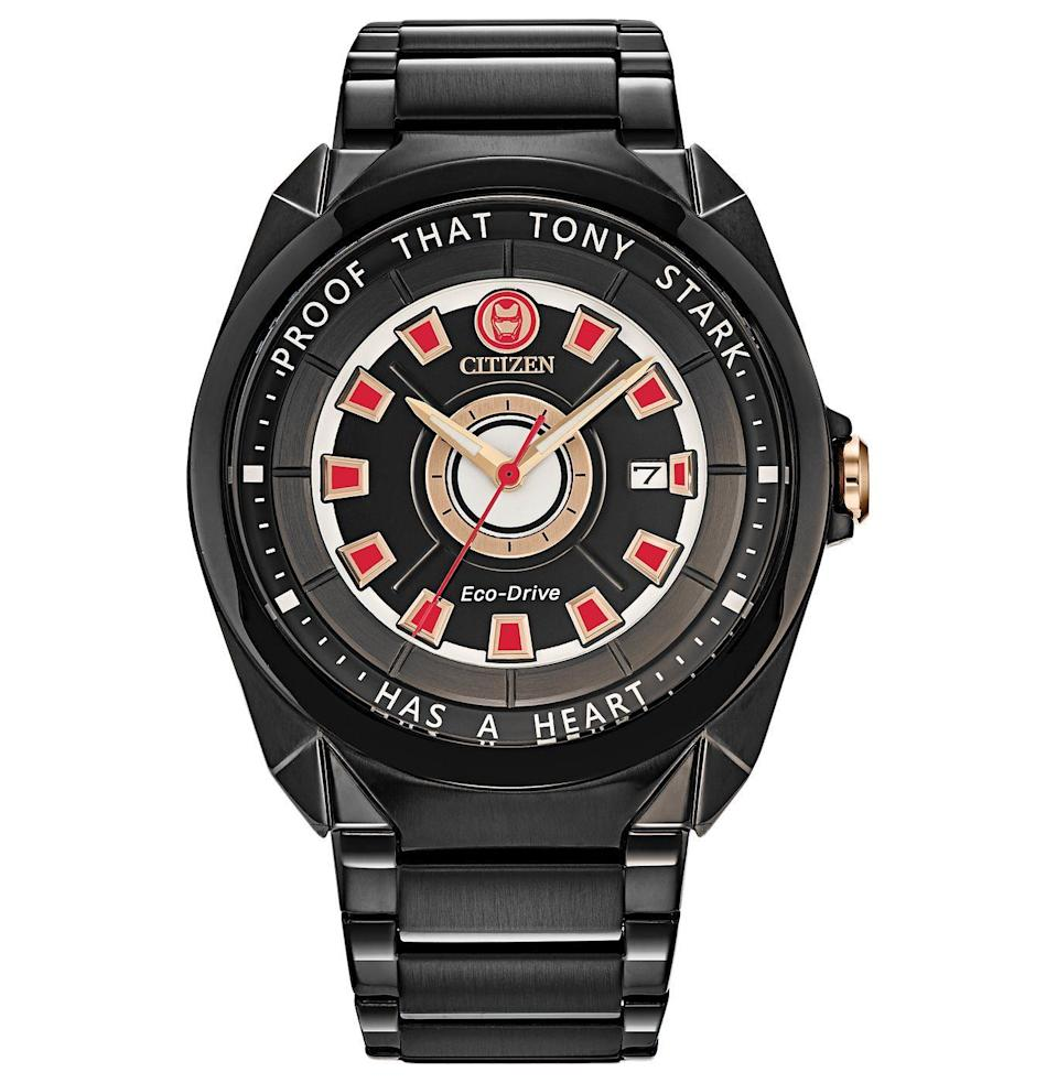 """<p><strong>Citizen</strong></p><p>citizenwatch.com</p><p><strong>$280.00</strong></p><p><a href=""""https://go.redirectingat.com?id=74968X1596630&url=https%3A%2F%2Fwww.citizenwatch.com%2Fus%2Fen%2Fproduct%2FAW1017-58W.html&sref=https%3A%2F%2Fwww.esquire.com%2Flifestyle%2Fg23497791%2Fbest-marvel-gifts-ideas%2F"""" rel=""""nofollow noopener"""" target=""""_blank"""" data-ylk=""""slk:Buy"""" class=""""link rapid-noclick-resp"""">Buy</a></p><p>Alas, no iron suit bursts forth from this timepiece at the press of a button. Still, it's nice enough that Tony Stark himself might've considered wearing it.</p>"""
