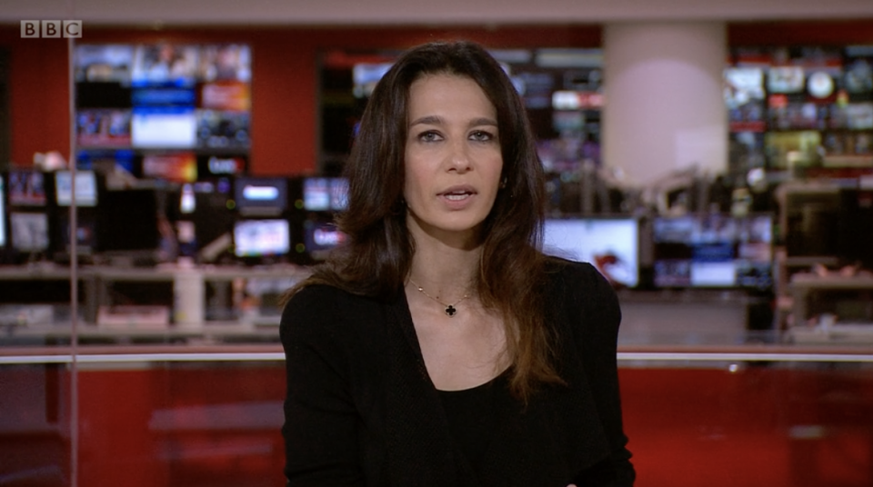A BBC World News anchor Yalda Haki received a call from a Taliban spokesperson while reporting live on air. Source: BBC