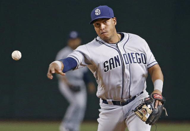 "Padres infielder <a class=""link rapid-noclick-resp"" href=""/mlb/players/9657/"" data-ylk=""slk:Yangervis Solarte"">Yangervis Solarte</a> had returned home to be with his family on Friday. (AP)"