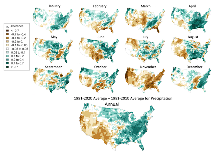 Most of the Central and Eastern U.S. was wetter in 1991-2020 than in 1981-2010, while most Western states were drier.