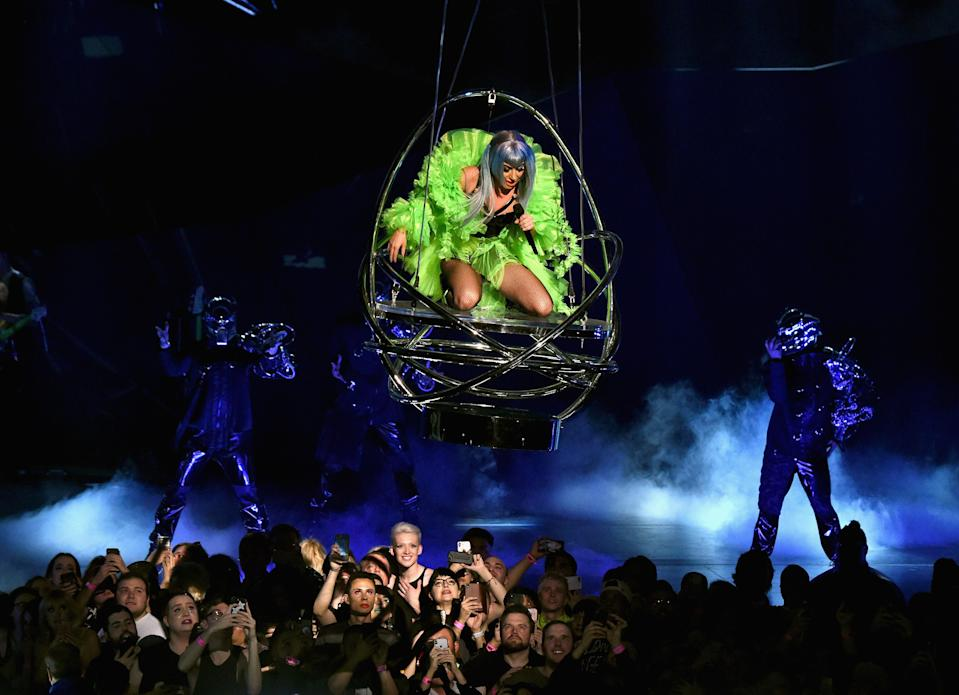 """Lady Gaga performs during her """"Enigma"""" residency at Park Theater at Park MGM Friday in Las Vegas. (Photo: Kevin Mazur/Getty Images for Park MGM Las Vegas)"""
