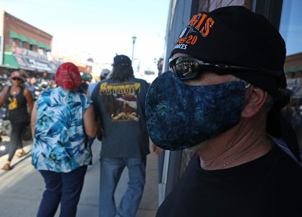 """Most people at the Sturgis Rally are flouting advice to wear masks. Some are scoffing at those who do. <p class=""""copyright"""">Jim Urquhart for Insider</p>"""