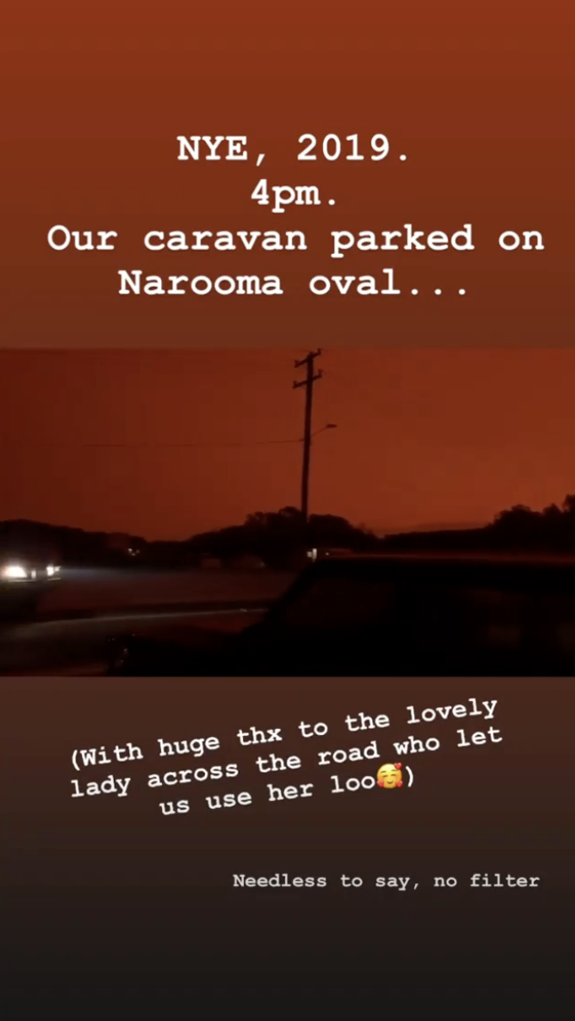 A photo of the red sky at Narooma on the NSW's far south coast during the 2019/20 bushfire season.