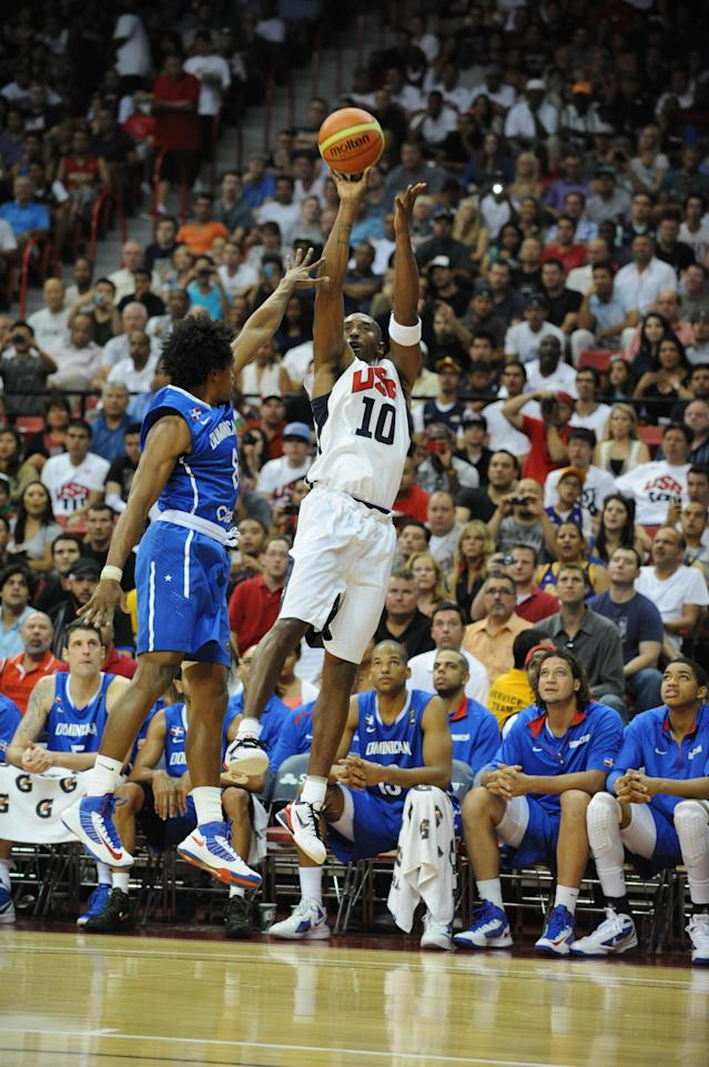 LAS VEGAS, NV - JULY 12: Kobe Bryant #10 of the US Men's Senior National Team shoots against the Dominican Republic during an exhibition game at the Thomas and Mack Center on July 12, 2012 in Las Vegas, Nevada. NOTE TO USER: User expressly acknowledges and agrees that, by downloading and/or using this Photograph, user is consenting to the terms and conditions of the Getty Images License Agreement. Mandatory Copyright Notice: Copyright 2012 NBAE (Photo by Noah Graham/NBAE via Getty Images)