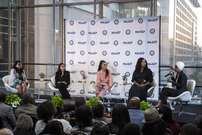 Rep. Rashida Tlaib (D-MI), Rep. Alexandria Ocasio-Cortez (D-NY), Rep. Ayanna Pressley (D-MA), and Rep. Ilhan Omar (D-MN) participate in a town hall hosted by the NAACP moderated by CNN Commentator Angela Rye, center, on September 11, 2019 in Washington, DC. (Photo by Zach Gibson/Getty Images)