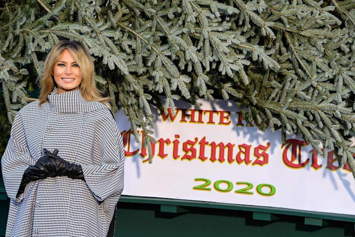 Melania Trump was all smiles as she welcomed her family's final Christmas tree to the White house (AFP via Getty Images)