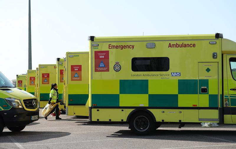Ambulances at the ExCel centre in London which is being made into a temporary hospital - the NHS Nightingale hospital, comprising of two wards, each of 2,000 people, to help tackle coronavirus.