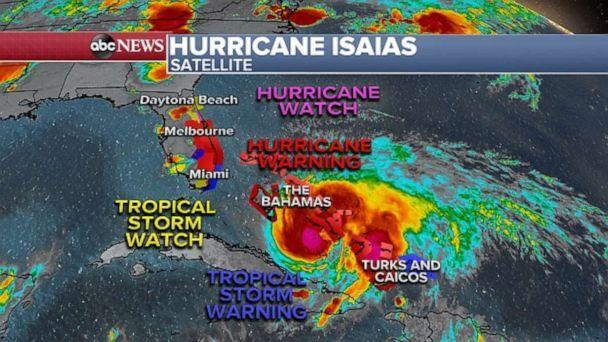 PHOTO: Hurricane Isaias continues to churn southeast of Florida on Friday night. (ABC News)