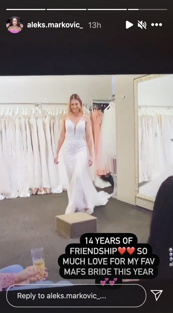 A screenshot of Married At First Sight 2021 contestant Bec Zemek trying on a wedding dress