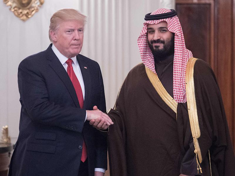 US President Donald Trump and Saudi Deputy Crown Prince and defence minister Mohammed bin Salman at the White House on 14 March: AFP/Getty Images
