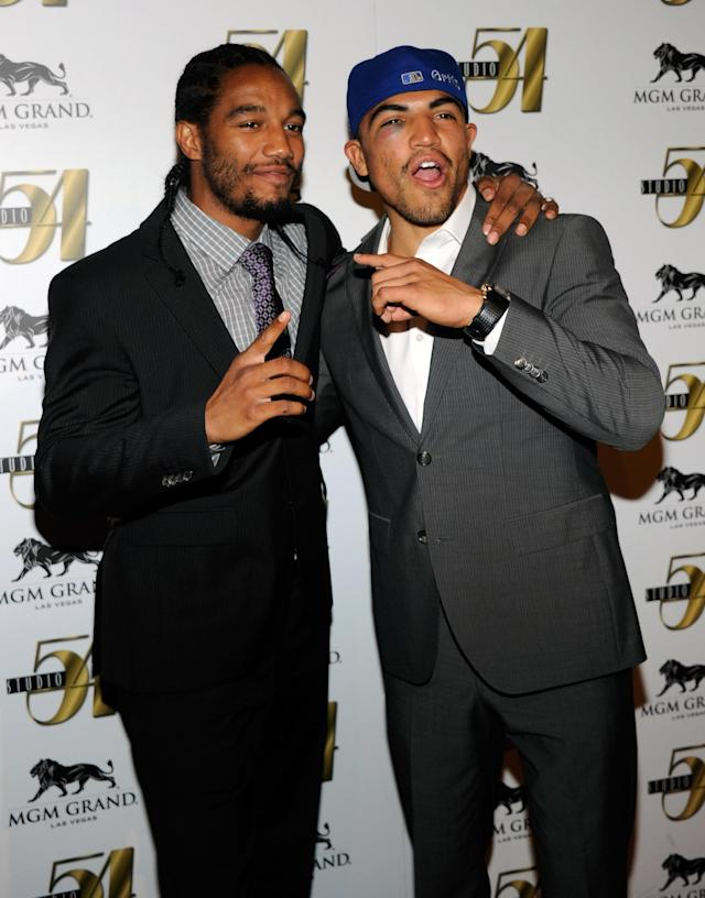 LAS VEGAS, NV - SEPTEMBER 18: Boxer Victor Ortiz (R) and his sparring partner Karl Dargan arrive at a post-fight party at Studio 54 inside the MGM Grand Hotel/Casino early on September 18, 2011 in Las Vegas, Nevada. Ortiz lost the WBC welterweight title to Floyd Mayweather Jr. by fourth-round knockout on September 17. (Photo by Ethan Miller/Getty Images for Studio 54)