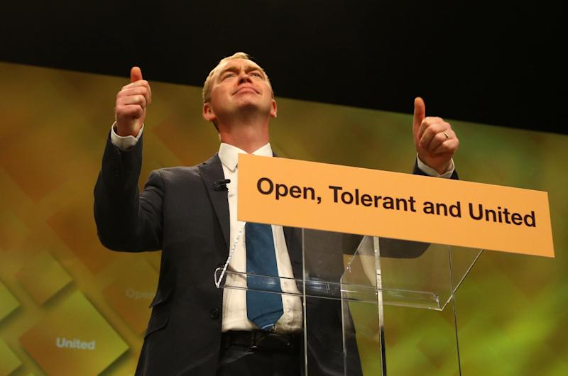 Lib Dem leader Tim Farron delivers his keynote speech on the final day of the party's conference: PA