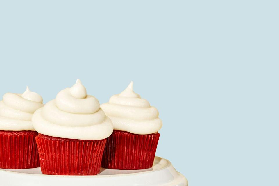 """<p>The homemade cream cheese frosting is what will really set these apart from any other red velvet treat you've had. </p><p><strong><a href=""""https://www.delish.com/cooking/recipe-ideas/recipes/a43392/red-velvet-cupcakes-recipe/"""" rel=""""nofollow noopener"""" target=""""_blank"""" data-ylk=""""slk:Get the recipe at Delish"""" class=""""link rapid-noclick-resp"""">Get the recipe at Delish</a>.</strong></p>"""