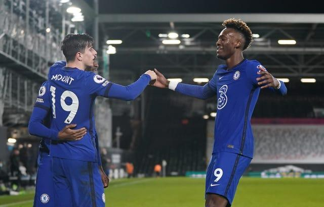 Mason Mount celebrated with Callum Hudson-Odoi and Tammy Abraham after scoring Chelsea's winner against Fulham.
