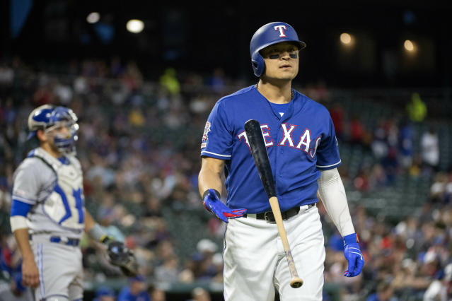 Texas Rangers' Shin-Soo Choo reacts after striking out against Toronto Blue Jays starting pitcher Trent Thornton during the fourth inning of a baseball game Friday, May 3, 2019, in Arlington, Texas. (AP Photo/Jeffrey McWhorter)