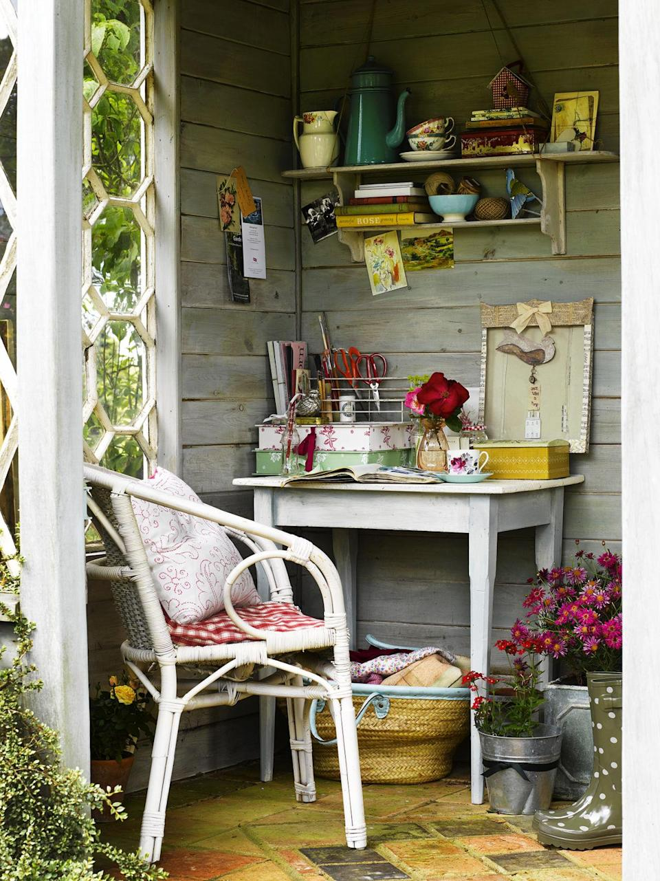 """<p>This summerhouse offers an idyllic cool shady corner to work in during the warm summer months<span>.</span></p><p><span><strong>MORE: </strong></span><span><strong><a rel=""""nofollow noopener"""" href=""""http://www.countryliving.co.uk/homes-interiors/interiors/how-to/a689/garden-shed-design-ideas/"""" target=""""_blank"""" data-ylk=""""slk:7 ways to take your shed from creak to chic"""" class=""""link rapid-noclick-resp"""">7 ways to take your shed from creak to chic</a> </strong></span></p><p><span><strong><em>This feature is from Country Living magazine. </em><a rel=""""nofollow noopener"""" href=""""http://www.hearstmagazines.co.uk/cl/country-living-magazine-subscription-website?utm_source=countryliving.co.uk&utm_medium=referral&utm_content=nav-bar"""" target=""""_blank"""" data-ylk=""""slk:Subscribe here."""" class=""""link rapid-noclick-resp""""><em>Subscribe here.</em></a></strong></span></p>"""