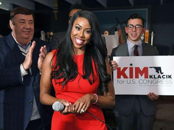 PHOTO: In this Nov. 12, 2019, file photo, Republican Kim Klacik kicks off her run for the Congressional 7th district during a campaign event in Hunt Valley to replace the late Rep. Elijah Cummings, in Baltimore. (Kenneth K. Lam/The Baltimore Sun via AP, FILE)