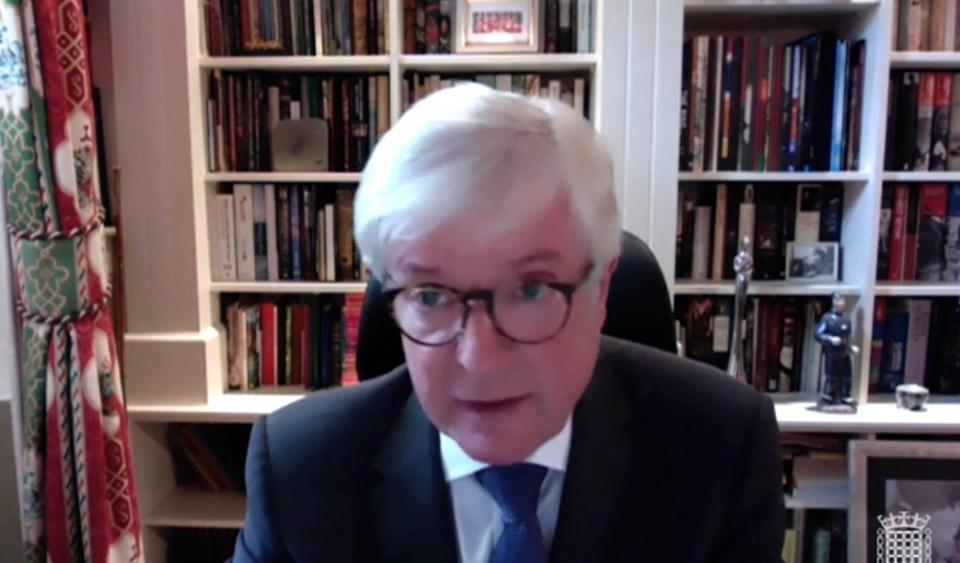 Screen grab of former BBC Director General Lord Hall answering questions, via video link, in front of the Digital, Culture, Media and Sport Committee over the handling of Martin Bashir's interview of Diana, Princess of Wales. Picture date: Tuesday June 15, 2021. (Photo by House of Commons/PA Images via Getty Images)