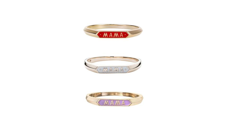 "<p>Adorable, stackable rings for all the new moms out there.<br><br>Mama Signet Ring, $310, <a href=""https://norakogan.com/products/mama-signet-ring-2"" rel=""nofollow noopener"" target=""_blank"" data-ylk=""slk:norakogan.com"" class=""link rapid-noclick-resp"">norakogan.com</a> </p>"