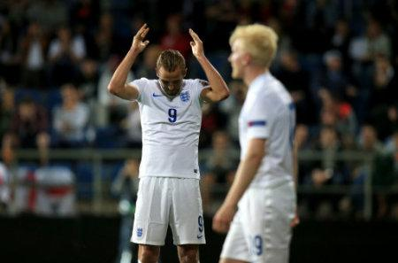 England's Harry Kane dejected after the match
