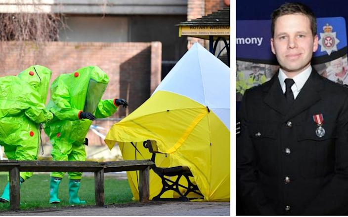 Detective Sergeant Nick Bailey (right) and the bench on which Sergei Skripal and his daughter Yulia were found (left) - PA/AFP