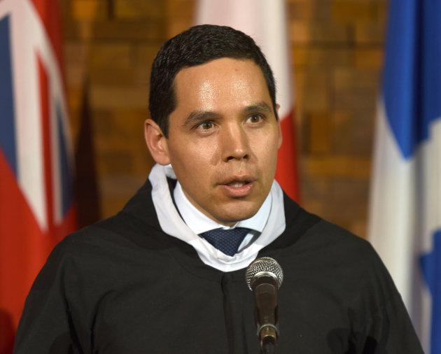 Natan Obed, president of Inuit Tapiriit Kanatami, talks to media after the opening of the First Ministers Meeting in Vancouver on March 2, 2016.
