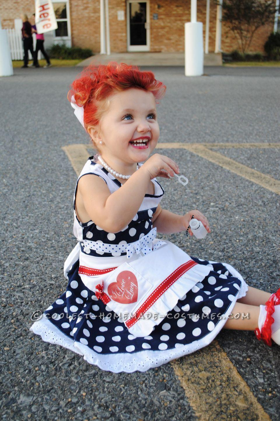 """<p><span>All you need for <em>I Love Lucy</em> costume is to find a Ricky!</span></p><p><strong>Get the tutorial at <a href=""""http://www.coolest-homemade-costumes.com/adorable-i-love-lucy-homemade-costume-for-a-toddler/"""" rel=""""nofollow noopener"""" target=""""_blank"""" data-ylk=""""slk:Coolest Homemade Costumes"""" class=""""link rapid-noclick-resp"""">Coolest Homemade Costumes</a>.</strong><br></p><p><strong><a class=""""link rapid-noclick-resp"""" href=""""https://www.amazon.com/Weixinbuy-Girls-Chiffion-Sundress-Bowknot/dp/B00M51QCSQ/?tag=syn-yahoo-20&ascsubtag=%5Bartid%7C10050.g.4975%5Bsrc%7Cyahoo-us"""" rel=""""nofollow noopener"""" target=""""_blank"""" data-ylk=""""slk:SHOP POLKA DOT DRESS"""">SHOP POLKA DOT DRESS</a></strong></p>"""