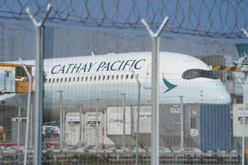 Cathay Pacific aircraft is seen at Hong Kong International Airport