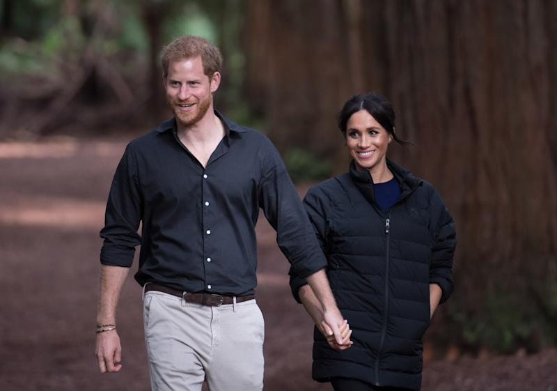 Prince Harry, Duke of Sussex and Meghan, Duchess of Sussex visit Redwoods Tree Walk on October 31, 2018 in Rotorua, New Zealand during their official 16-day Autumn tour visiting cities in Australia, Fiji, Tonga and New Zealand.