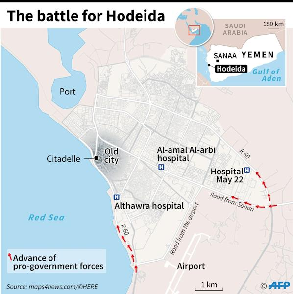 Map locating Hodeida in Yemen, where pro-government forces are attempting to retake the city from the rebels (AFP Photo/Laurence SAUBADU)