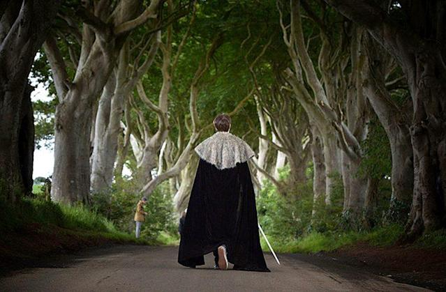 A 'GoT' fan at the Dark Hedges in Northern Ireland (Photo: Charles McQuillan/Getty Images)