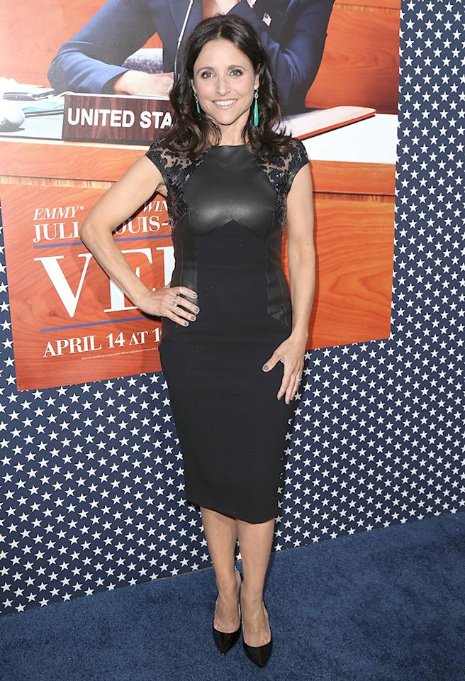 "HOLLYWOOD, CA - APRIL 09:  Actress Julia Louis-Dreyfus attends the premiere of HBO's ""VEEP"" Season 2 at Paramount Studios on April 9, 2013 in Hollywood, California.  (Photo by David Livingston/Getty Images)"