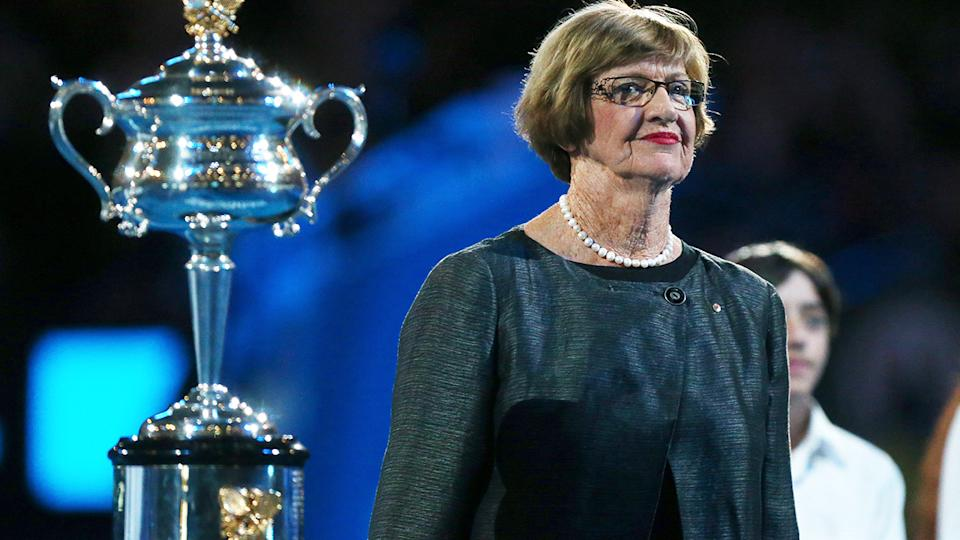 Margaret Court, pictured here with the Daphne Akhurst Memorial Cup at the 2013 Australian Open.