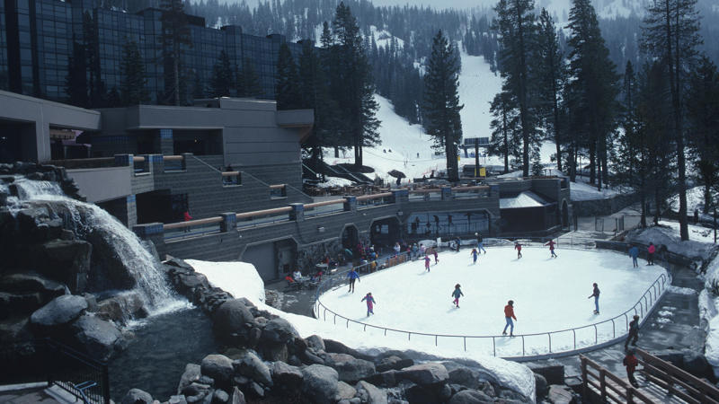 Skaters on the ice rink, pictured here at the Squaw Valley Ski Resort in 1993.