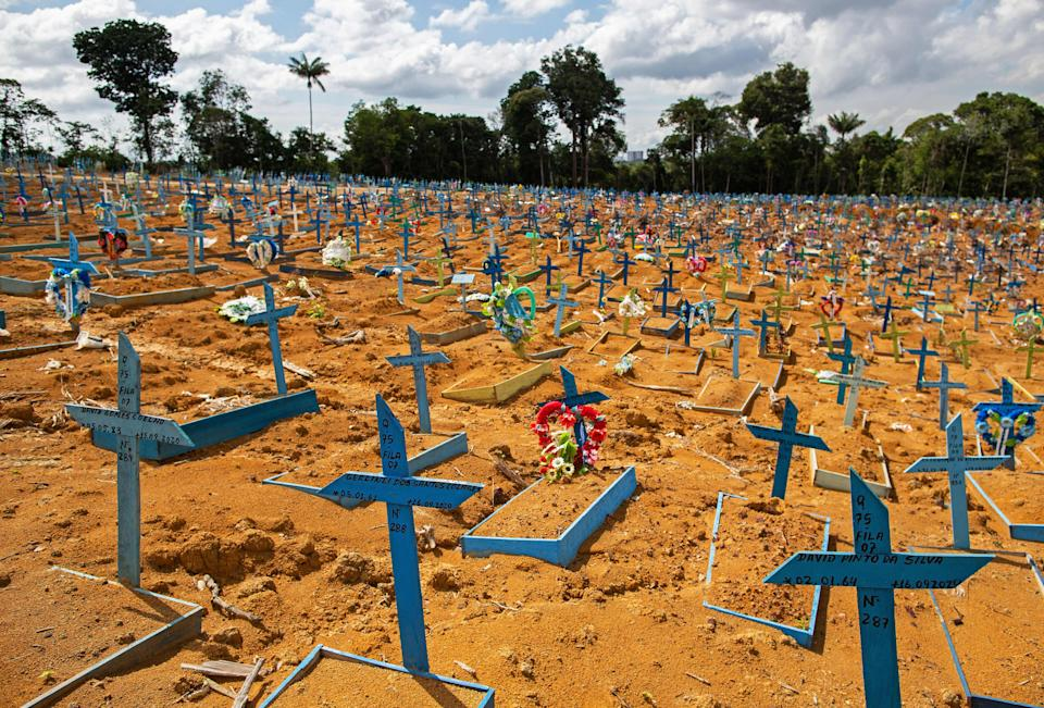 General view of an area reserved for the burial of COVID-19 victims at the Nossa Senhora Aparecida cemetery in Manaus, Brazil, on January 5, 2021. (Photo by MICHAEL DANTAS / AFP) (Photo by MICHAEL DANTAS/AFP via Getty Images)