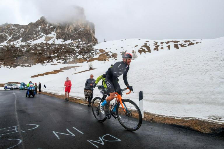 Damiano Caruso chased through the Alpine snow but could not catch Egan Bernal