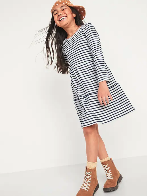 Cozy Long-Sleeve Rib-Knit Tiered Dress.Image via Old Navy.
