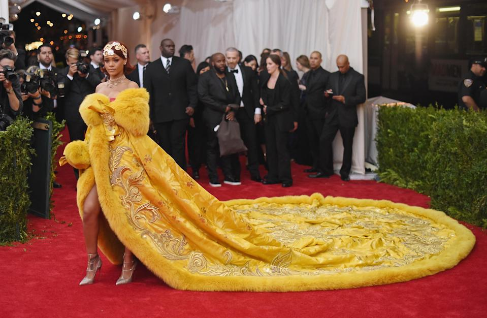 <p>It was the dress that spawned a thousand omelette-related memes. Yes, Rihanna's 2015 Met Gala dress will never be forgotten and you will not believe how long it took to create. <br>It was never designed for the songstress, as it was in fact sitting in Guo Pei's studio for three years before it was uncovered.<br>The now-famous dress weighed approximately 25kg and boasted an impressive 16ft train. Having taken over two years to make, the garment features over 50,000 hour's worth of hand-stitched embroidery. <em>[Photo: Getty]</em> </p>