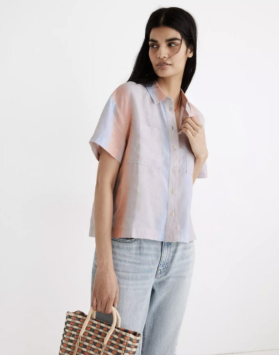 <p>The ombre striped print on this <span>Madewell Linen Beachside Shirt</span> ($75) is a cool update on the classic button-down. I'll tie mine in a knot at the waist.</p>