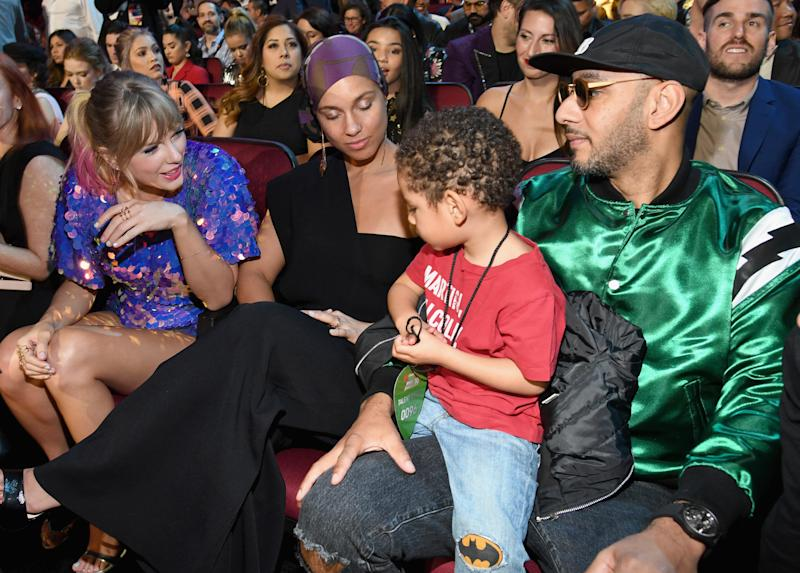 Taylor Swift, Alicia Keys, and Swizz Beatz attend the 2019 iHeartRadio Music Awards which broadcasted live on FOX at Microsoft Theater on March 14, 2019 in Los Angeles. (Kevin Mazur via Getty Images)