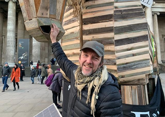 BP Or Not BP activist Phil Ball stands with a Trojan horse in front of the British Museum earlier this month