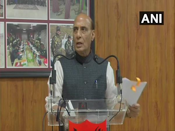 Defence Minister Rajnath Singh addressing the e-inauguration ceremony on Sunday. (Photo/ANI)