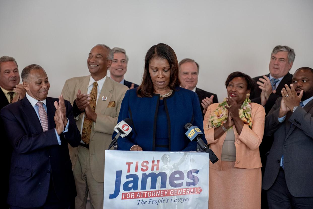 """Letitia (Tish) James speaks to supporters in White Plains, NY. (Photo: David """"Dee"""" Delgado for Yahoo News)"""