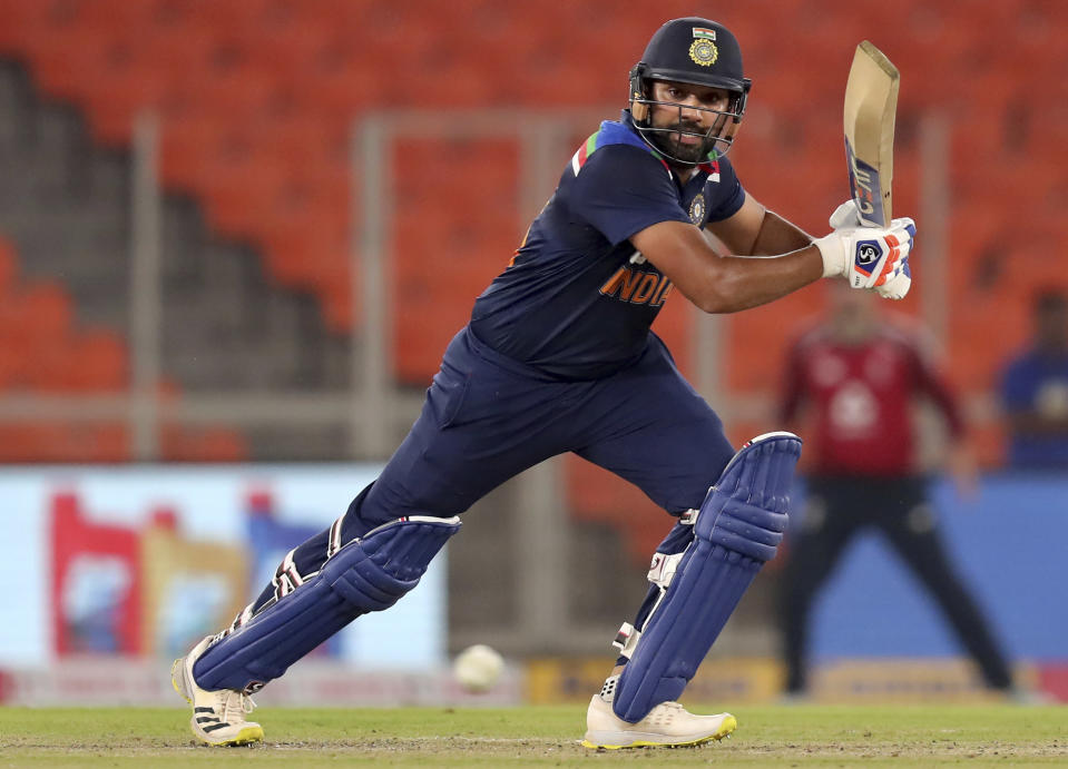 India's Rohit Sharma bats during the fifth Twenty20 cricket match between India and England at Narendra Modi Stadium in Ahmedabad, India, Saturday, March 20, 2021. (AP Photo/Ajit Solanki)